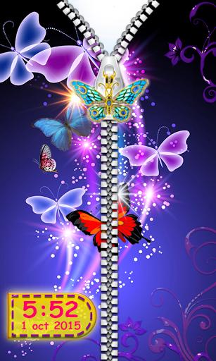 Butterfly Zipper Lock Screen