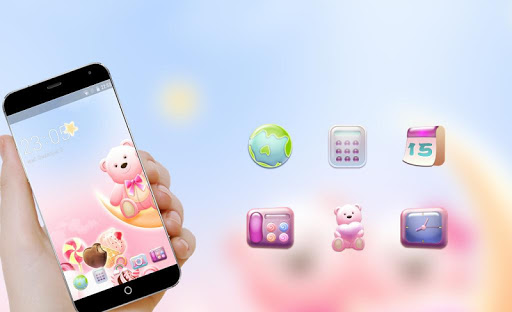 Cute Bear Pink hearts Theme